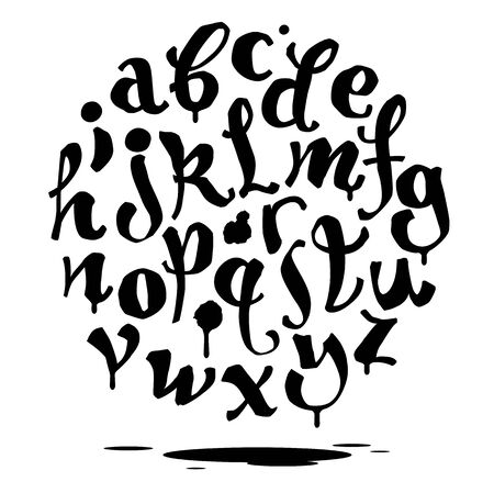 Hand lettering graffiti font with drips. Vector alphabet 스톡 콘텐츠 - 150469116