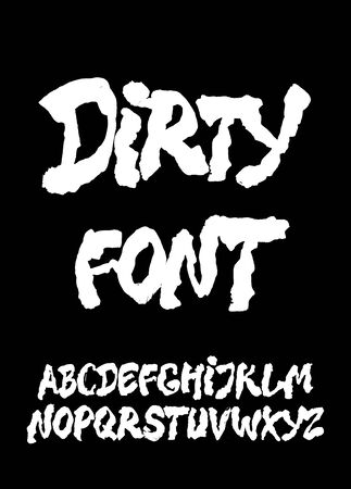 Dirty calligraphy hand lettering ink brush font. Vector alphabet 일러스트
