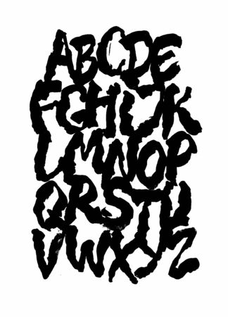 Grungy calligraphy hand lettering ink brush font. Vector alphabet