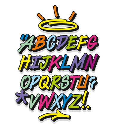 Colorful graffiti font and decorations. Vector alphabet