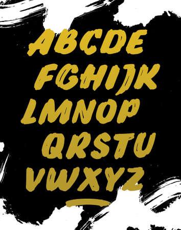 Golden calligraphy font. Vector alphabet