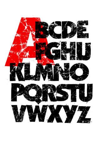 Highly detailed black grunge dirty font. Vector alphabet