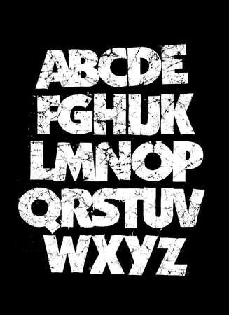 Detailed grunge dirty font. Vector alphabet