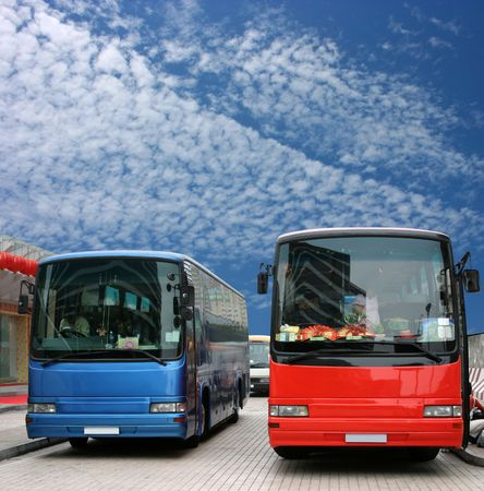 Buses waiting for tourists Stock Photo