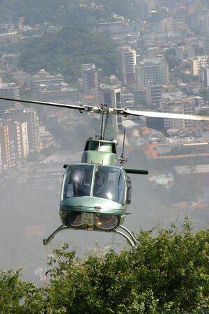 Police helicopter over Rio de Janeiro Stock Photo
