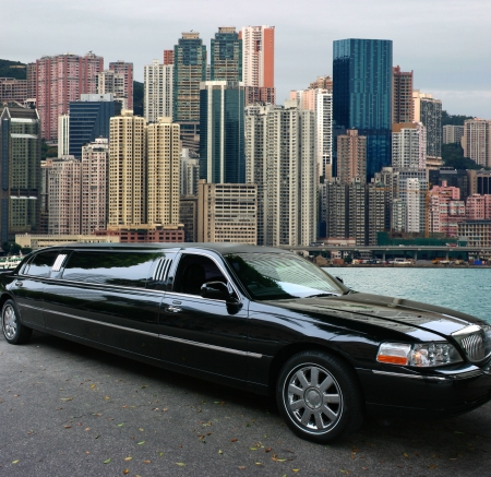 Black limousine, view to Hong Kong island Editorial