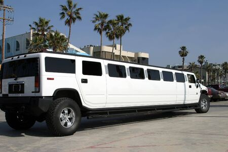 White limousine in Malibu, California Stock Photo - 2263144
