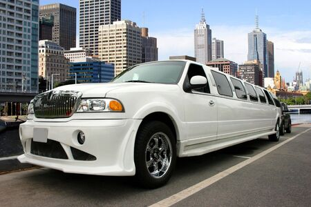 White limousine on waterfront