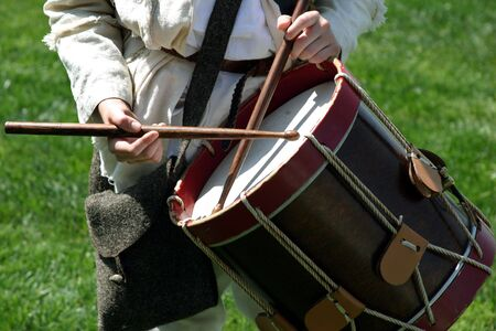 Drummer on the battlefield  Stock Photo