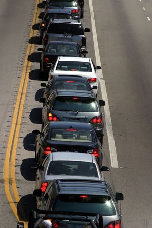 slowdown: Traffic in Los Angeles Stock Photo