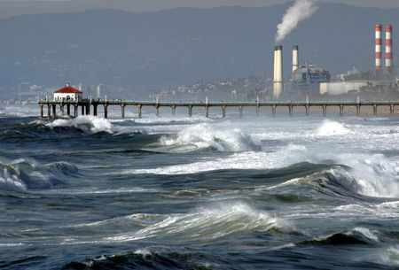 Stormy weather on Manhattan beach, California Stock Photo