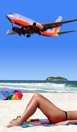 Airplane landing on tropical island