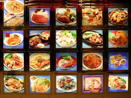 Picture menu at chinese restaurant