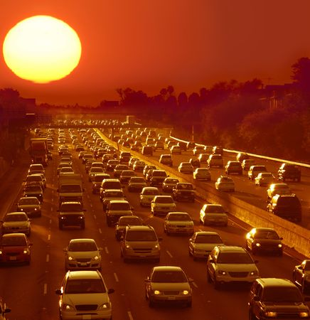slowdown: Traffic jam in Los Angeles at sunset