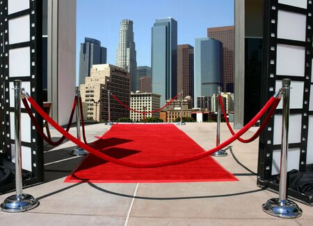 Red carpet and Los Angeles downtown Stock Photo