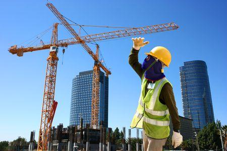 Worker on condominium construction site