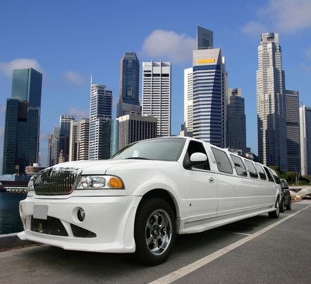 White limousine in Singapore Editorial