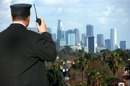 hilltop: Security agent watching Los Angeles from hilltop