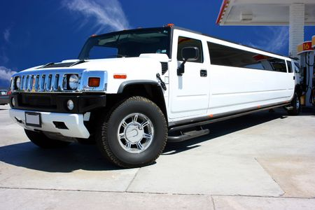 White limousine in California