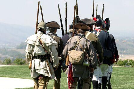 Battle of Lexington,  British regulars marching back towards Boston.