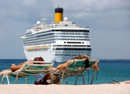 Couple on Caribbean vacation Stock Photo
