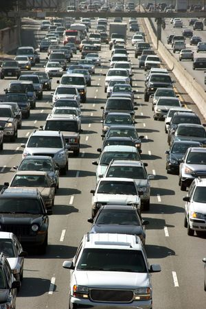 slowdown: Traffic jam in Los Angeles Stock Photo