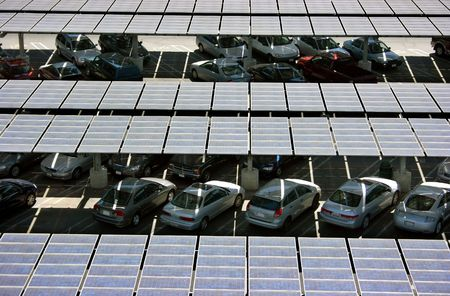 Solar panels on the roof of the parking structure Stock Photo