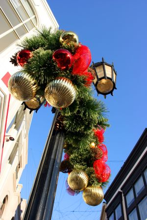 christmas decorations on lighting pole stock photo 3781481