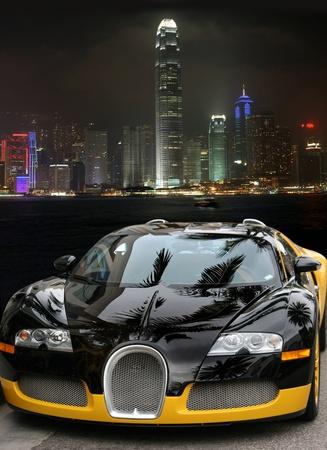 Car at night in Hong Kong