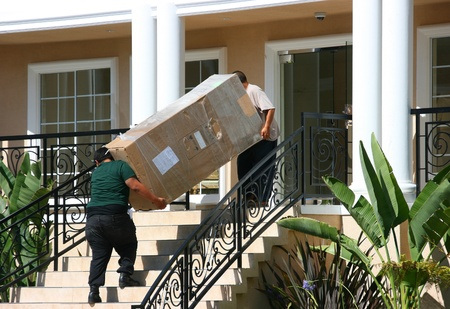 Moving into apartment Stock Photo