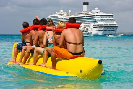 Mensen plezier op Caribische vakantie Stockfoto