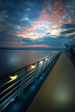 ship deck: On the deck of the ship at sunrise Stock Photo