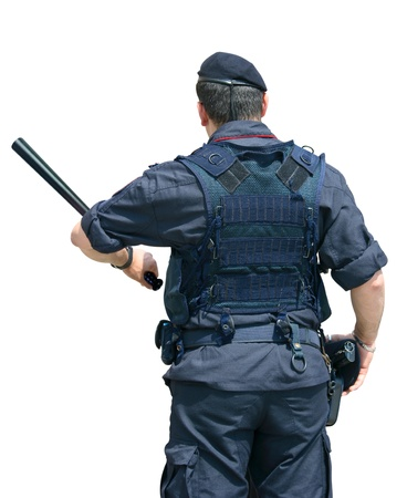 nightstick: Security Officer with Clipping Path