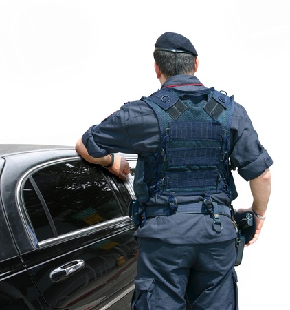 Security Officer stops the car on the street Stock Photo - 10185261