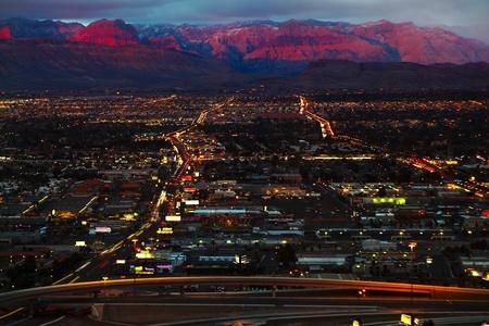 vegas strip: Aerial view of Las Vegas at Sunrise