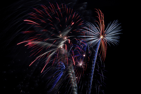 pyrotechnics: Fireworks on May 9 in Yekaterinburg. Stock Photo