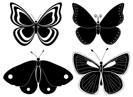 silhouettes: Four butterfly silhouettes