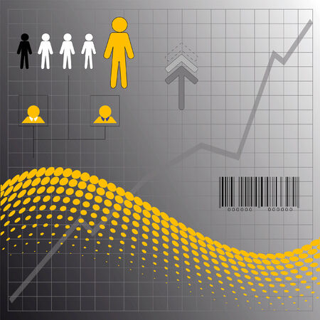 Industry elements on halftone curve background