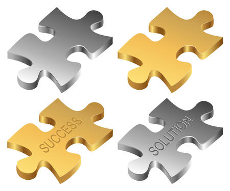 Silver and golden jigsaw pieces Vector