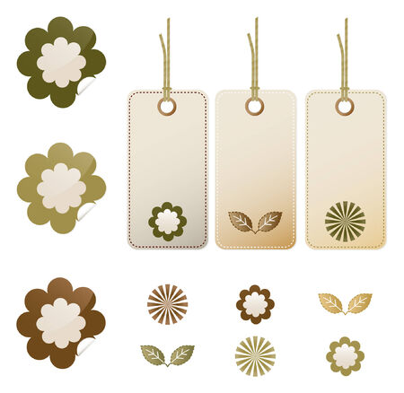 Earth tone floral stickers and tags Vector