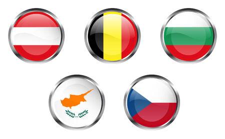 欧州連合旗ボタン - オーストリア、ベルギー、ブルガリア、キプロス、チェコ共和国  イラスト・ベクター素材