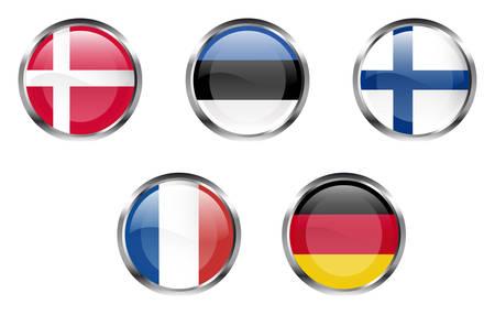 European Union flag buttons - Denmark, Estonia, Finland, France, Germany Vector