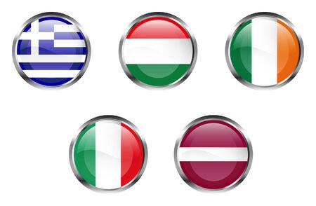 Unión Europea pabellón botones - Grecia, Hungría, Irlanda, Italia, Letonia Foto de archivo - 2623283