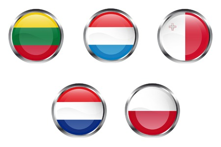 European Union flag buttons - Lithuania, Luxembourg, Malta, Netherlands, Poland Vector