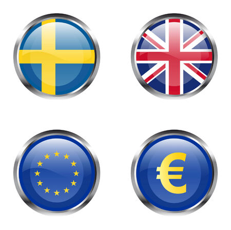 European Union flag buttons - Sweden, United Kingdom, EU, Euro