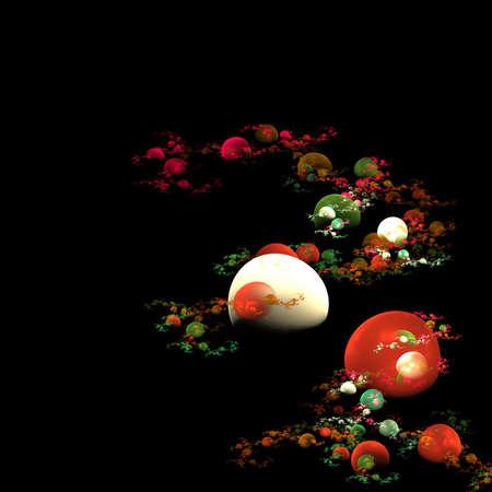 Colored bubbles flame fractal looking like an oriental garden Banco de Imagens