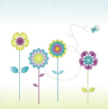縞模様の背景に牧草地で様式化された花