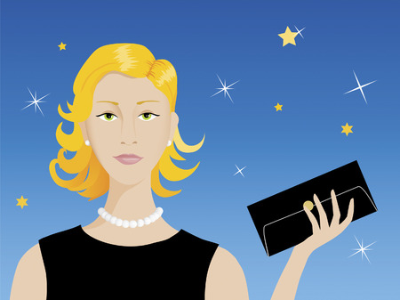 smart woman: Smart attractive blond woman ready for her evening rendez-vous Illustration