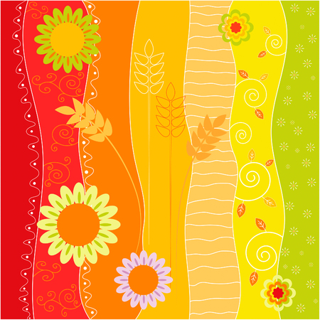 abstract flowers: Colorful stripes with wheat, flowers and swirls for stationery, scrapbooking Illustration