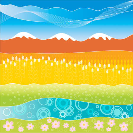Abstract landscape with meadow, fields, mountains and river